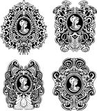 Set of decorative antique cameos Stock Images