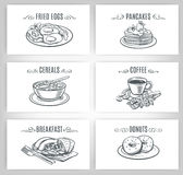 Set of decorative banners breakfast Royalty Free Stock Photography