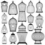 Set of decorative black bird cage Silhouettes, isolated on white. Background stock illustration