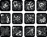 Set of decorative black flowers Royalty Free Stock Photos
