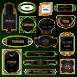 Set decorative black golden frames labels. Vector Royalty Free Stock Photography