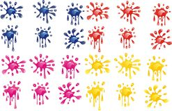 Set of decorative blots. Blots in four colors on transparent background. Vector illustration Royalty Free Stock Photos