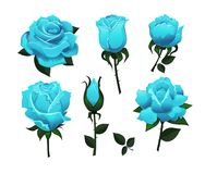 Set of decorative blue roses isolated on white background.Colorful vector roses for invitations, greeting cards, posters etc stock illustration