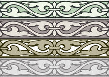 6 Set of decorative borders vintage style silver Stock Images