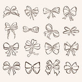 Set of 16 decorative bows Royalty Free Stock Photography