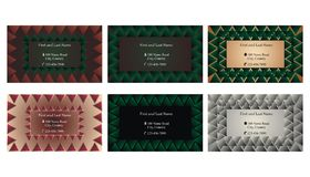 Set of decorative business cards or text frames. Six decorative single sided business cards or text frames with abstract backgrounds Stock Images