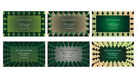 Set of decorative business cards or text frames. Six single sided business cards or text frames with different backgrounds Royalty Free Stock Photography
