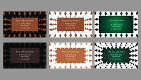Set of decorative business cards or text frames. Six decorative single sided business cards or text frames with different backgrounds Stock Photography