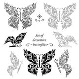 Set of decorative butterflies and elements, hand drawing Stock Image