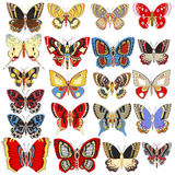 set of decorative butterflies on a white background Royalty Free Stock Photography