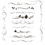 Set of decorative calligraphic elements, floral dividers and flower silhouettes for your design vector illustration