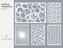 Set decorative card for cutting. Abstract geometric linear. Npattern. Laser cut. Ratio 2:3. Vector illustration vector illustration