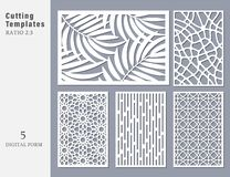 Set decorative card for cutting. Abstract geometric linear. Npattern. Laser cut. Ratio 2:3. Vector illustration royalty free illustration