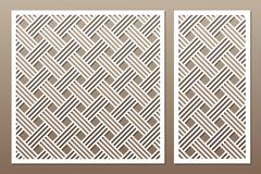Set decorative card for cutting. Geometric line pattern. Laser c. Ut. Ratio 1:1, 1:2. Vector illustration stock illustration