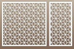 Set decorative card for cutting. Square pattern. Laser cut. Ratio 1:1, 1:2. Vector illustration. stock illustration