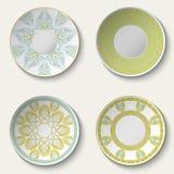 Set of decorative ceramic plates with ethnic pattern. Royalty Free Stock Image