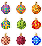 Set of 9 decorative Christmas balls with unusual ornaments on white background Royalty Free Stock Photo