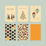 Set of decorative christmas cards with front and back side Royalty Free Stock Photo