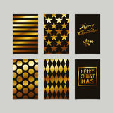 Set of decorative christmas cards in gold. Vector illustration Stock Photos