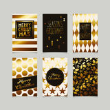 Set of decorative christmas cards in gold. Vector illustration Royalty Free Stock Images