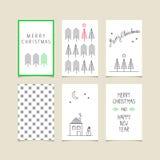 Set of decorative christmas cards Royalty Free Stock Photos