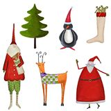 Set of decorative Christmas elements. Artistic work. Acrylic and watercolors on paper Stock Photography