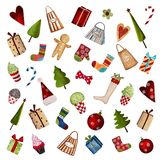 Set of decorative christmas elements. Artwork, ink and watercolors on paper Stock Photo
