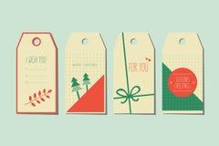 Set of decorative christmas tags Stock Photos