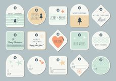 Set of decorative christmas tags. Vector illustration Stock Images