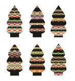 Set of decorative Christmas trees Stock Images
