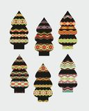 Set of decorative Christmas trees Stock Photography