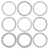 Set of 9 decorative circle border frames. Royalty Free Stock Images
