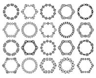 Set of decorative circular and hexagon elements for design in ethnic style Royalty Free Stock Images