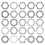 Set of decorative circular and hexagon elements for design in ethnic style Royalty Free Stock Photography
