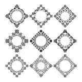 Set of decorative circular and hexagon elements for design in ethnic style Royalty Free Stock Photos