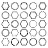 Set of decorative circular and hexagon elements for design in ethnic style Stock Image
