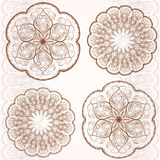 Set decorative circular ornaments, classic pattern. Set circular ornaments, classic style flower, vintage retro pattern. Vector illustration Royalty Free Stock Images