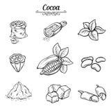 Set decorative cocoa chocolate Stock Photo