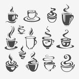 Set of decorative coffee cups. Design Royalty Free Stock Image