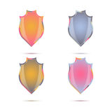 A set of decorative colored shields in vintage style Royalty Free Stock Images