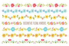 Set of decorative colorful Floral Borders. Set of colorful decorative floral borders. Perfect for create floral frame designs and text dividers. Vector Stock Photos