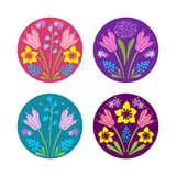 Set of floral design elements with early blooming spring flowers. Set of decorative colourful stickers or spot graphics with different spring flowers Royalty Free Stock Images