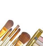 Set of decorative cosmetics, Eyeshadow Palette and brushes close up. Royalty Free Stock Photo