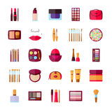 Set of decorative cosmetics for face, lips, skin, eyes, nails, eyebrows and beautycase Stock Images