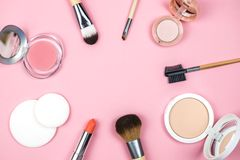 Set of decorative cosmetics for make up. stock photos