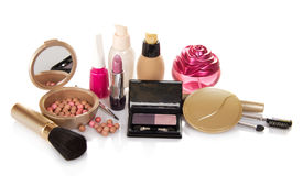 The set of decorative cosmetics, perfume Royalty Free Stock Images