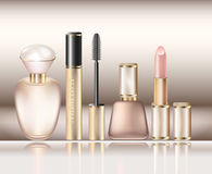 A set of decorative cosmetics and perfumes for the little princess Royalty Free Stock Photography