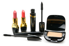 Set of decorative cosmetics: powder, lipstick and mascara isolat Stock Photos
