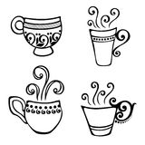 Set of Decorative Cup of Coffee Royalty Free Stock Image