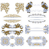 Set of decorative design borders Stock Photo